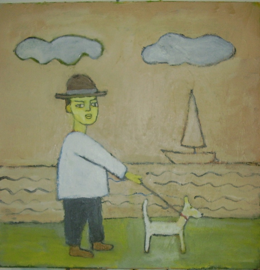 At the sea walking the dog
