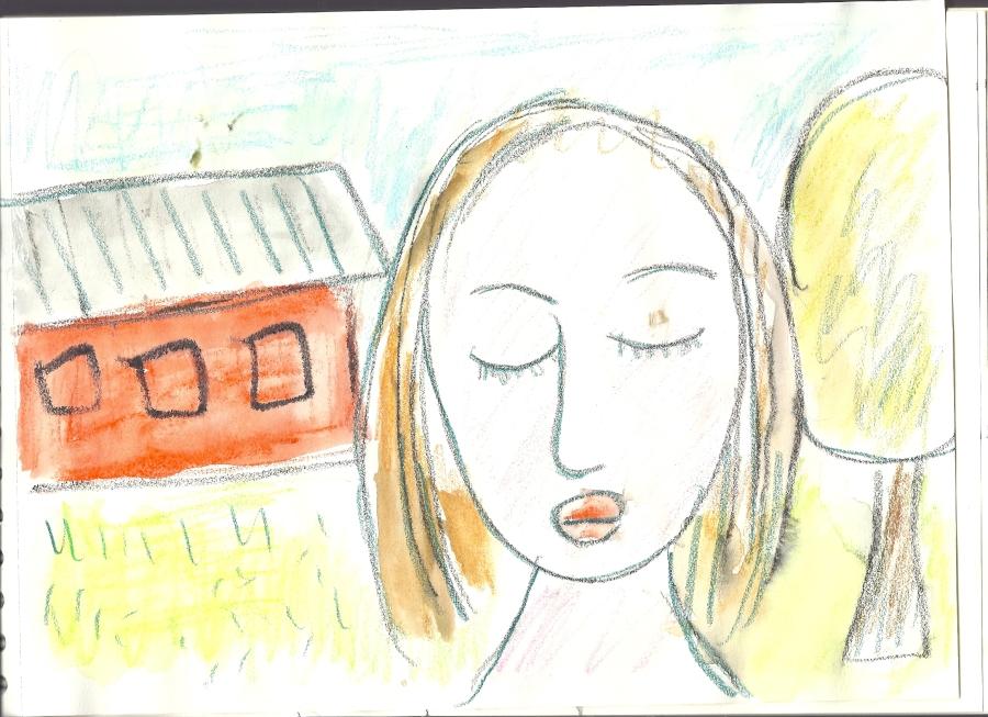lady with eyes shut