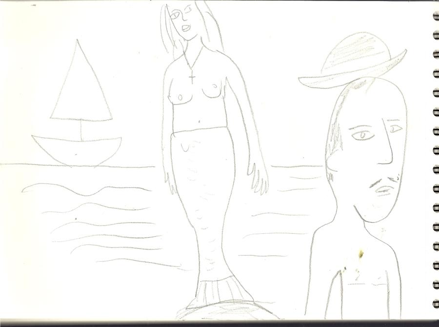 mermaid behind his back